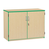 Coloured Edge Stock Cupboard with 2 Shelves