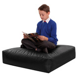 FAUX LEATHER SQU CUSHION BLACK