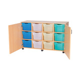 Mobile 12 Extra Deep Tray Unit with Cupboard Doors - Without Trays