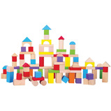 COLOURED WOODEN BRICKS IN BAG 100 PC