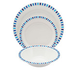 Blue Stripes Patterned Polycarbonate Tableware
