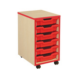 COLOURED EDGE 6 TRAY UNIT RED