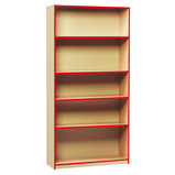 COLOURED EDGE BOOKCASE 5 SHELVES RED