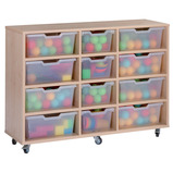 Assorted Cubby Tray Storage: 4 Tier with 12 Trays