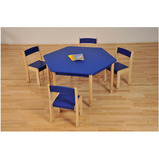 Coloured Hexagonal Beechwood Tables