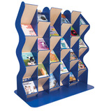Freestanding Extended Wooden Colourama Wave A4 Book Dispenser