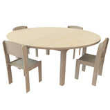 Solid Beech Circular Table and 4 Chairs