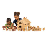 Natural Wooden Barn and Farm Set