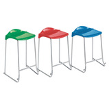 SKID STOOL3 - BLACK FRAME - CHARCOAL