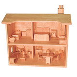 NATURAL WOOD DOLLS HOUSE
