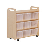 MOBILE SHELF WITH BACK CLEAR TUB