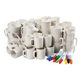 PLAIN WHITE MUGS & MARKERS PK48