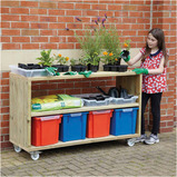 OUTDOOR WOODEN MOBILE SHELVING UNIT