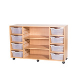 Mobile 8 Deep Tray and Shelf Unit