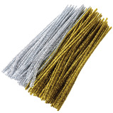 TINSEL STEMS PK100 GOLD & SILVER